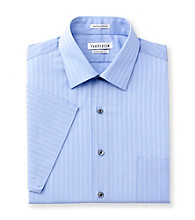 Van Heusen® Men's Blue Short Sleeve Satin Stripe Dress Shirt