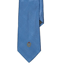 Lauren® Men's Light Blue Signature Crest Solid Silk Tie