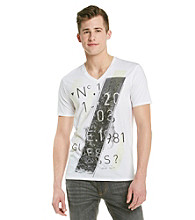 Guess Men's Optic White Sliced V-Neck Graphic Tee