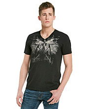 Guess Men's Jet Black Graphic Skull V-Neck Tee