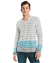 Guess Men's Optic White Multi Conway Long Sleeve Slub Henley