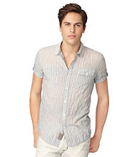 Calvin Klein Jeans® Men's Silver Pine Short Sleeve Thin Striped Button Down Shirt
