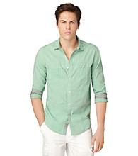 Calvin Klein Jeans® Men's Track Green Long Sleeve Chambray Woven