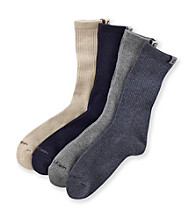 Calvin Klein Men's Heathered Navy/Charcoal/Navy/Khaki 4-Pack Assorted Ribbed Socks