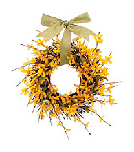 Forsythia Bright Blossoms Dried Floral Wreath
