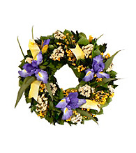 Iris Wildflower Dried Floral Wreath
