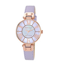 Anne Klein® Women's Rosegold-Tone Lavendar Leather Strap Watch