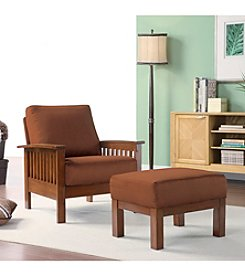 Home Interior Mission Style Rust Chair and Ottoman