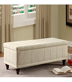 Home Interior Cream Tufted Storage Bench