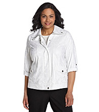 Laura Ashley® Plus Size White Metallic Animal Weekend Jacket
