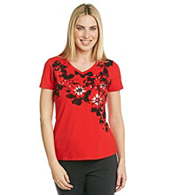 Laura Ashley® Floral Applique Tee