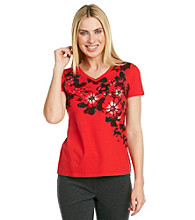 Laura Ashley® Petites' Floral Applique Tee