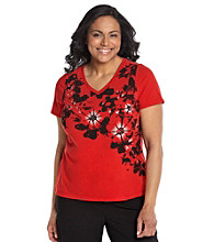 Laura Ashley® Plus Size Floral Applique Tee