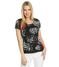 Laura Ashley® Sketch Floral Mesh Tee
