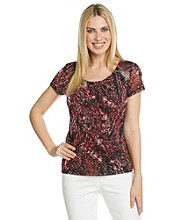 Laura Ashley® Abstract Reptile Mesh Tee