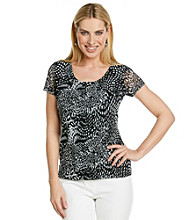 Laura Ashley® Petites' Dot Animal Mesh Tee