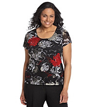 Laura Ashley® Plus Size Sketch Floral Mesh Tee