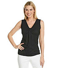 Laura Ashley Petites' Black Animal Print Lace Tank