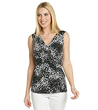 Laura Ashley® Cluster Dot Ruched V-Neck Tank