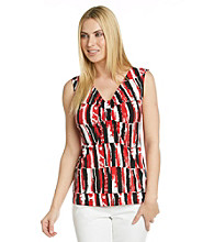 Laura Ashley® Tile Print Ruched V-Neck Tank
