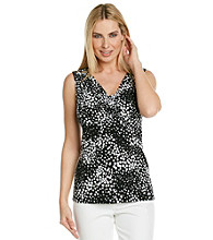 Laura Ashley® Petites' Cluster Dot Ruched V-Neck Tank