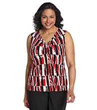 Laura Ashley® Plus Size Tile Print Ruched V-Neck Tank