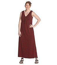 Laura Ashley® Plus Size Zigzag Print Maxi Dress