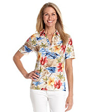 Cathy Daniels® Split Neckline All Over Print with Embellishment Shirt