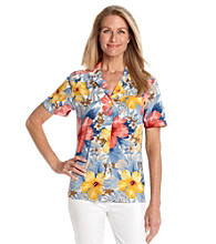 Cathy Daniels® Allover Tropical Print Camp Shirt