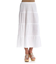 Cathy Daniels® Stretch Waistband Tiered Solid Long Skirt