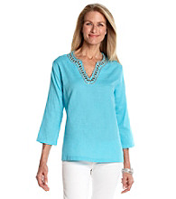 Cathy Daniels® Splitneck with Embellishment Solid Shirt