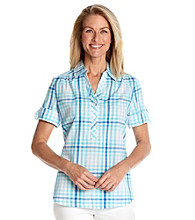 Cathy Daniels® Polo Collar Plaid Print Shirt