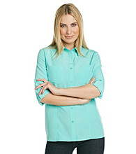Notations® Roll-Tab Button Front Shirt