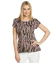 Notations® Scoop Neckline All Over Print Peplum Top