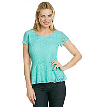 Notations® Scoop Neckline All Over Lace Peplum Top