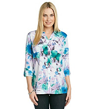 Notations® Y-Neckline Front Button Up Print Shirt