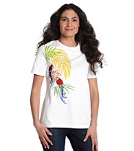 Breckenridge® Petites' Tropical Ringer Screen Print Tee