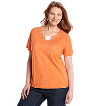 Breckenridge® Plus Size Embellished Lace Tee