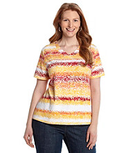 Breckenridge® Plus Size V-neck Stripe Tee