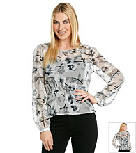 NY Collection Print Woven Top