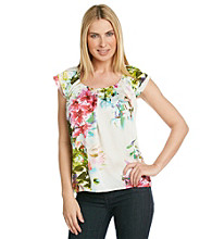 NY Collection Printed-Floral Woven Top