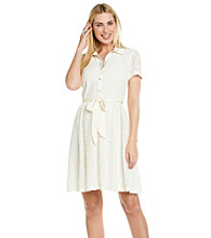 NY Collection Lace Shirt Dress