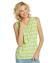 Relativity® Sleeveless Ruffled Henley Tank