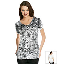 Relativity Short Sleeve V-Neck Snake Sequin Tee