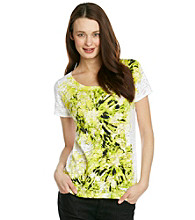 Relativity® Short Sleeve Scoopneck Large Flower Tee