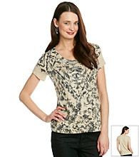 Relativity Short Sleeve V-Neck with Abstract Sequin Print Tee
