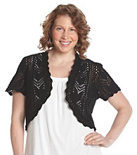 Relativity® Plus Size Short Sleeve Open Front Crochet Shrug