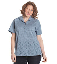 Ruff Hewn Plus Size Short Sleeve Henley Hooded Tee