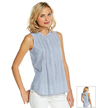 DKNY JEANS® Sleeveless Crewneck Cut-Out Top