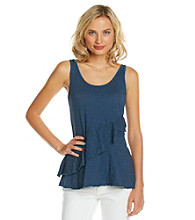 DKNY JEANS® Sleeveless Scoopneck Ruffle Tier Top